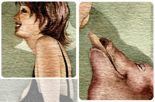 aquarelle-affiche pour les rendez vous d'Eros 1993, avec Marc Roger