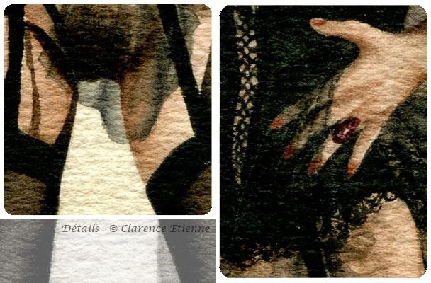 1 cm au dessous du singe-aquarelle Clarence Etienne-danse de mort