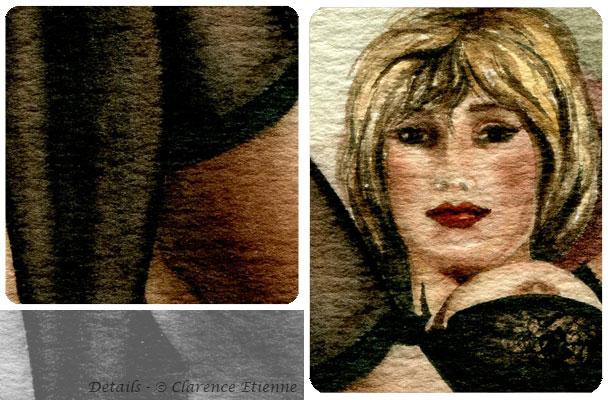 1 cm au dessous du singe-aquarelle Clarence Etienne-repos