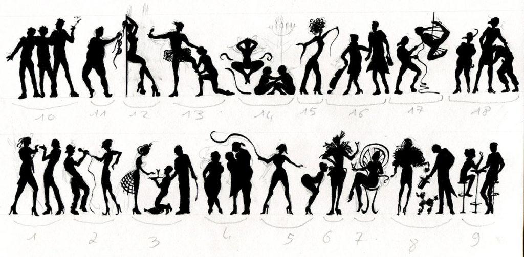 silhouettes représentatives des différents univers érotiques, Clarence Etienne