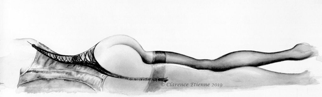 """Aquarelle, fessier et bustier porte-jarretelles, illustration pour """"Paris Derrière"""", Clarence Etienne"""