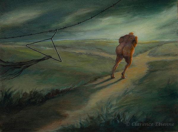 éloignement d'une créature aimée, grotesque, vers d'autres horizons