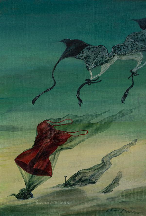 """""""Désert fétichiste"""", lingeries flottant au gré du vent, dans le désert"""