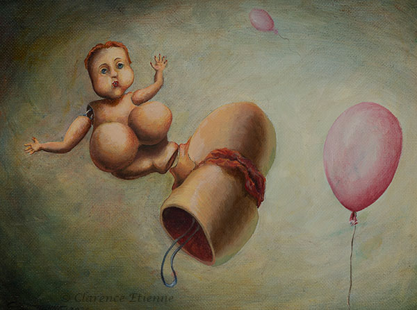 peinture à l'huile, poupée gonflée comme un ballon, chatte à l'air qui s'envole