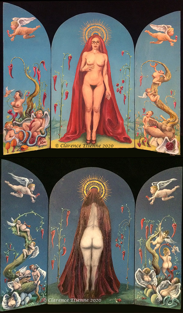 Pièce réalisée à partir d'un projet autour de «La Mariée mise à nu par ses Célibataires, même » de Marcel Duchamp. J'ai choisi le prêtre, qui s'inscrit dans une série de représentations grotesques, mais respectueuses, d'une l'iconographie revisitée des bondieuseries que j'affectionne tout particulièrement.